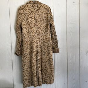 Arden B 100% Leather Leopard Print Trench Coat